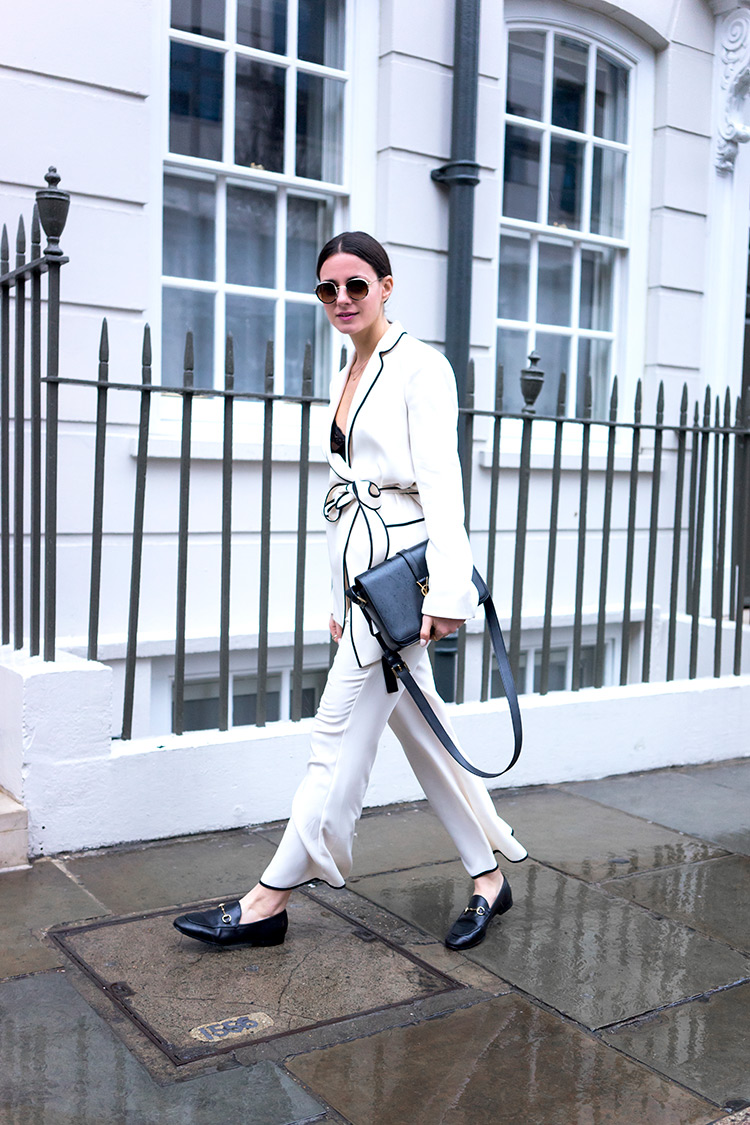 london-fashion-week-saint-laurent-bag-gucci-loafers-white-look The Pajama Trend Is On