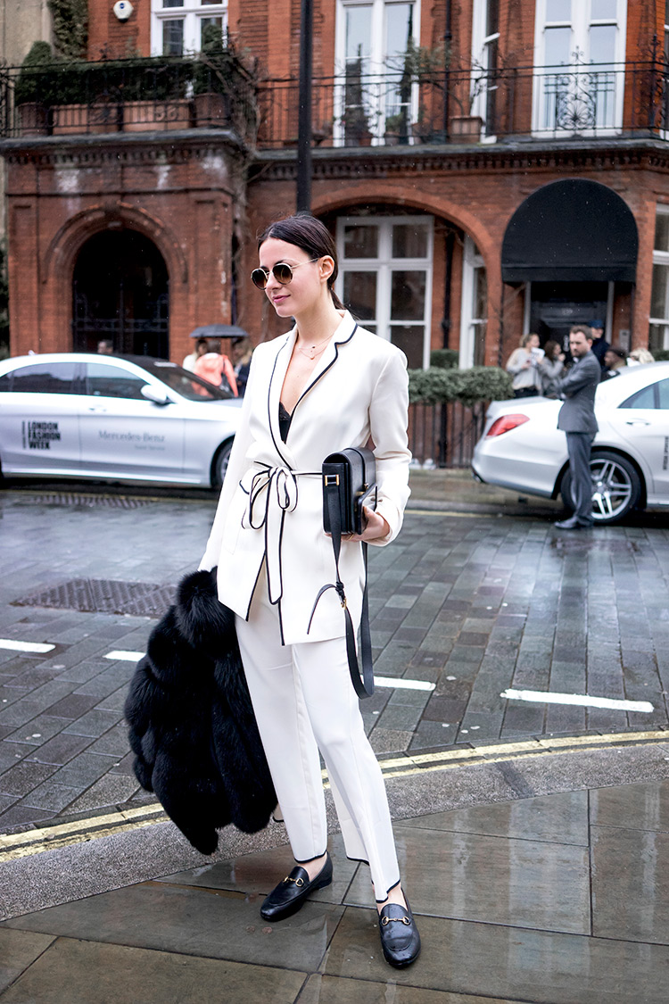 london-fashion-week-zara-pajama-suit-gucci-flats-saint-laurent-bag The Pajama Trend Is On